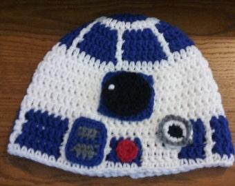 Crochet R2D2 beanie hat