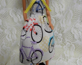 SALE! Fashion Doll Dress. Vintage Bicycle print.  NEW Handmade. 11 1/2 inch dolls.