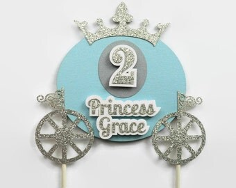 Princess Cake Topper - Personalized with Name and Age - Carriage Birthday Topper - Royal Princess Theme Party - Pink and Gold Glitter Accent