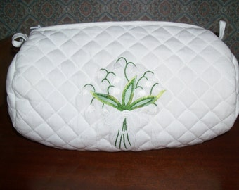 Vintage Lily of the Valley Embroidered Quilted Zippered Bag - Perfect for Travel and storing Lingerie , Jewelry, Cosmetics-Unused