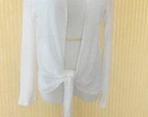 Women's White Cardigan, Shrug, Bolero, Tie front Shrug, Wedding Boleros