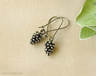 Pinecone earrings antique bronze pine cone earrings vintage, autumn earrings fall jewelry, kidney dangle earrings nature inspired woodland