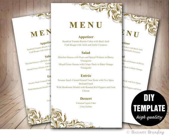 gold menu template diy wedding menu card 4x7gold wedding