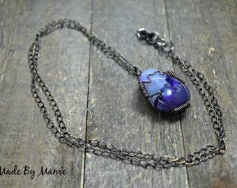 Boho Fluorite Crystal Pendant Necklace, Purple Bohemian Jewelry, Oxidized Copper, Meditation, Healing, Rustic Jewelry, Layering, Organic