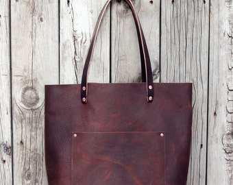 LEATHER TOTE BAG | All Leather Tote Bag with Bridle Leather Straps | Lifetime Guarantee