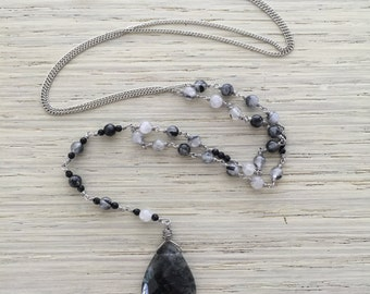 Tourmalinated quartz & black onyx necklace / elegant lariat necklace / antique silver crystal necklace / tourmalinated quartz necklace