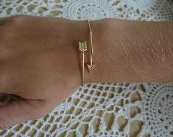 Gold Arrow Adjustable Cuff Bracelet