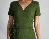 Olive Green COTTON WRAP DRESS  - Wrap Around Dress, Lightweight Cotton, Pirate Dress, Festival Clothing, Breezy Green Boho Dress, Swim Cover