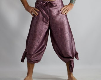 SILK WRAP PANTS Pink - Pirate Pants, Buccaneer, Gypsy, Aladdin Pants, Renaissance Festival, Wrap-Around Pants, Harem Pants, Larp - Zootzu