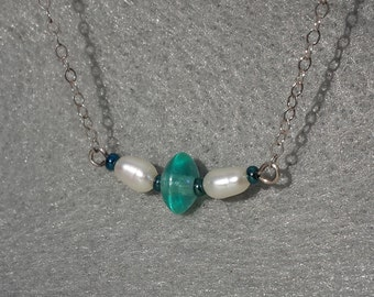Tiny Turquoise and White Delicate Necklace, turquoise glass seed beads, white freshwater pearls, sterling chain, bridesmaids gift, unique