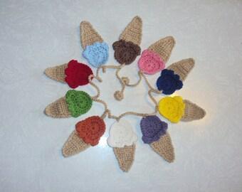 Ice Cream Banner - Ice Cream Bunting - Ice Cream Garland - Crochet Banner - Crochet Bunting