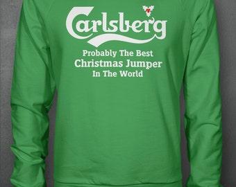 Carlsberg Christmas Jumper Sweatshirt (Funny X-mas Beer Comedy Item)