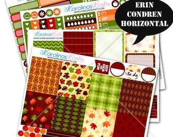 Fall Stickers, Fall Planner Kit 200+ Autumn Planner Stickers, Erin Condren Horizontal Planner Stickers, October planner #SQ00220-ECH