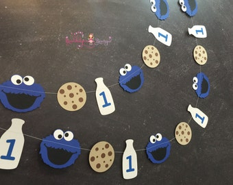 Cookie monster birthday garland, milk and cookies garland, Cookie monster garland, sesame street birthday garland