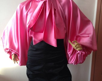 Formal Womens silk blouse/ Pink cocktail satin blouse/Satin Bow Blouse, Shirt