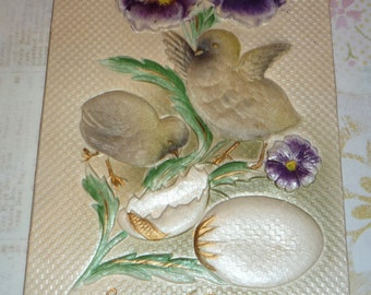 Deeply Embossed Pansies, Eggs and Chicks Antique Easter Postcard