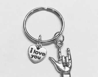 I Love You Hand Sign Language Symbol Gift Keychain