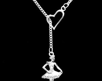 Ballet Necklace, Ballerina Necklace, Dance Necklace, Dancer Gift, Gift For Her, Heart Y Lariat Necklace