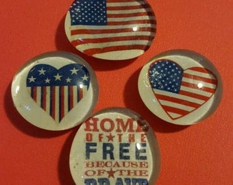 Set of 4 Strong Glass Magnets; American Flag, 4th of July, Patriotic, USA, Anerica; Refrigerator Magnets; Fridge Art; Kitchen, Office Decor
