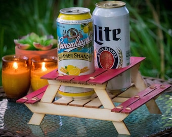 Beer Holder or Condiment Rack, A Mini Picnic Table 3D Kit. Useful Centerpiece And Hysterical Coaster For Your Summer Drink!