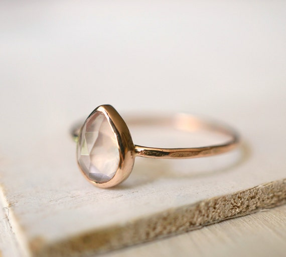 Rose Quartz Ring Teardrop Ring Engagement Ring Rose Gold by Luxuring