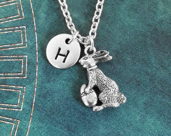Easter Bunny Necklace SMALL Silver Bunny Charm Necklace Easter Rabbit Necklace Easter Jewelry Easter Necklace Bunny Pendant Necklace Initial
