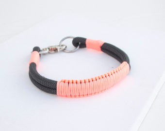 Rope dog Collar. Chic Charcoal Gray and Pink Climbing rope Collar.