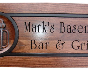 Personalized bar signs beer signs man cave bar sign custom pub for Personalized home decor