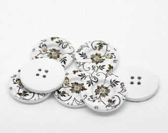 Pretty Floral Black white and Gold Wooden Buttons. 30mm (3cm).  For sewing, knitting, button art, card making, scrap booking, embellishment