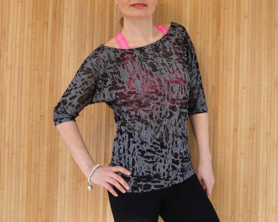 Yoga Top, Black Yoga T Shirt, Burnout Jersey Top, Loose Slouchy Top Off The Shoulder, Women's Activewear