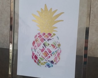 Gold Foil Pineapple Picture - 4x6, 5x7, 8x10