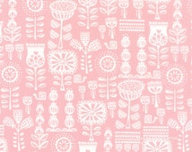 Pink Quilt Fabric, Moda Lil Red 20504 12 Pink, Stacy Iest Hsu, Pink Floral Fabric, Baby Girl Quilt Fabric, Pink Nursery Fabric, Pink & White