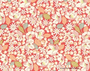 Moda Strawberry Fields Revisited, Fig Tree 20265 11 Red, Coral Floral Fabric, Tomato Red Flower Fabric, Strawberry Plants, Cotton