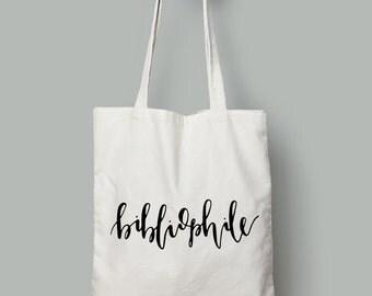 market canvas tote bag // bibliophile