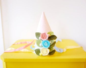 PARTY HAT // felt flower party hat // custom colors // felt flower accessories for a whimsical childhood
