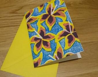 Linocut printed Lily greetings card.