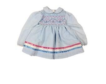 Vintage Hand Smocked Girl's Dress / 12 Months