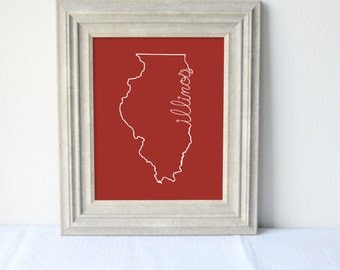 Printable Illinois State Art Print 8x10 Digital Wall Art Gift