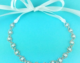 Pearl Bridal Ribbon Headband, crystal ribbon headband, wedding headpiece, rhinestone tiara, rhinestone, ribbon headband 264872837