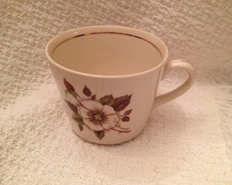 PT Tulowice Fine China Cup, Floral Ivory China Cup, China Mug, Made in Poland, 1945-1956, Gold Trim