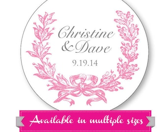 Personalized Wedding Stickers - Gift Bag Labels, Wedding Favor Stickers, Candy favor sticker