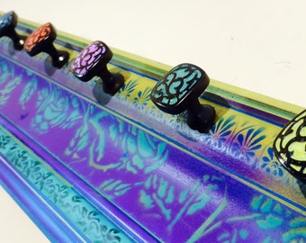 Made to order recycled wood necklace holder /crown molding jewelry storage /wall art organizer/ coat rack /boho decor 8 hand-painted knobs
