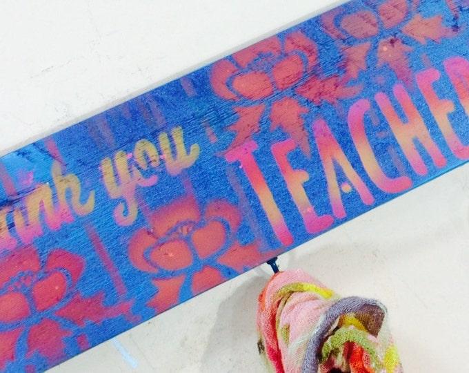 Pallet wood signs /teacher gift /classroom decor school sign 5 hooks/ gifts for teachers wall hanging coat rack reclaimed wood art organizer