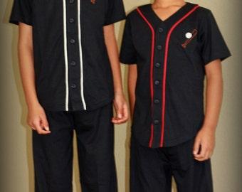 Navy Blue Baseball Kids Cotton Pajamas