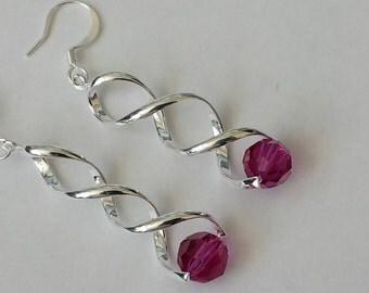 Rose Crystal Earrings, Pink Dangle Earrings, Swarovski Drop Earrings, Gifts for Her, Whimsical Earrings, Crystal Earrings, 50% OFF