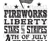 """Primitive 4th of July STENCIL **1776 Independence-Fireworks** Large 12""""x24"""" for Painting Signs, Summer Decor, Airbrush, Crafts, Wall Art"""