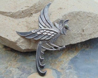 Mexico Silver ~ Large Quetzal Bird with Green Eye Brooch / Pin c. 1940