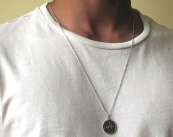 Silver Coin Necklace , Mens Silver Necklace , Mens Necklace , Ancient Coin Pendant , Necklace For Men , Guy Necklace , Circle Necklace