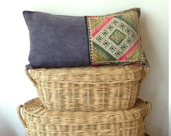"Vintage Hilltribe Hand Stitched Geometric Ethnic Boho Cushion Cover 12"" x 22"""