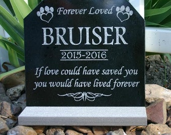 Pet Memorial Stone Granite Dog Cat Granite Engraved Grave Marker Headstone with optional Heavy Composite Base Stand Indoor/Outdoor
